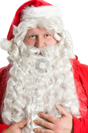 Funny Santa Claus stock photo, Funny smiling Santa Claus holding bear with hands by Ruta Balciunaite