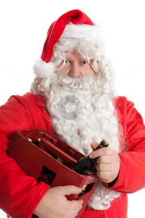 Santa Claus with beer stock photo, Santa Claus holding beer box by Ruta Balciunaite