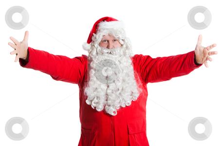 Santa Claus wellcome stock photo, Happy Santa Claus welcomes with spread arms by Ruta Balciunaite
