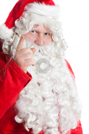 Funny Santa Claus stock photo, Funny Santa Claus holding hand with one finger up by Ruta Balciunaite