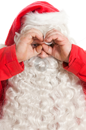 Funny Santa Claus stock photo, Funny Santa Claus looking through hand's binocular by Ruta Balciunaite