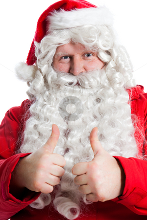 Funny Santa Claus stock photo, Funny Santa Claus holding two thumbs up by Ruta Balciunaite