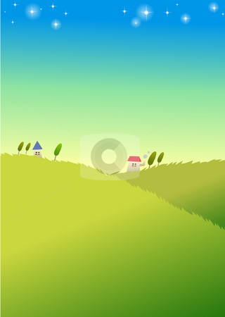 Village stock photo, Green lawn with red house under blue sky,stars cover sky by Su Li
