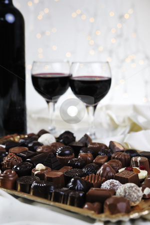 Vine, chocolate and praline decoration stock photo, Vine chocolate and praline decoration closeup by Benis Arapovic