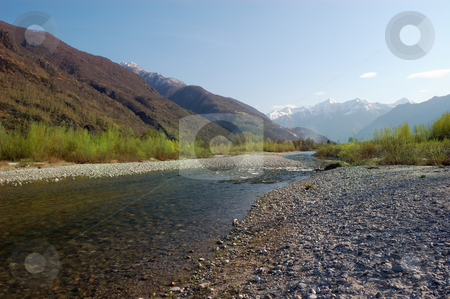 Spring river landscape stock photo, Spring landscape of a river, Toce River, Italy by ALESSANDRO TERMIGNONE