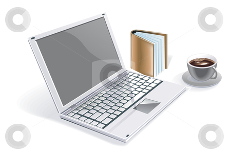 Laptop stock vector clipart, An illustration of laptop with agenda and a cup of coffee by Utanaya Putra