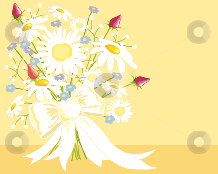 Bouquet stock vector clipart, A hand drawn illustration of a bouquet of wedding flowers tied up with a white silky ribbon on a pale yellow background by Mike Smith