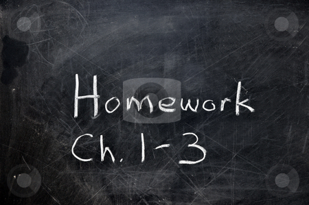 Homework on Chalkboard stock photo, Homework assignment on black chalkboard with copy space. by Danny Hooks