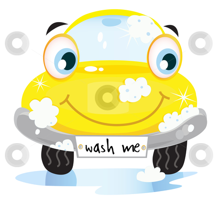 Picture Wash on Car Wash Service   Happy Yellow Automobile With Soap Bubbles