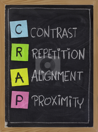 Contrast, repetition, alignment and proximity - CRAP stock photo, CRAP - contrast, repetition, alignment and proximity, the four principles of sound design, white chalk handwriting, color sticky notes on blackboard by Marek Uliasz