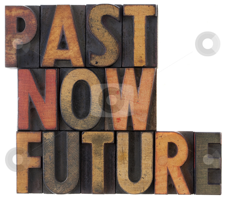 Past, now, future - time concept stock photo, Past, now, future words in vintage wooden letterpress block types, stained in color ink, isolated on white by Marek Uliasz