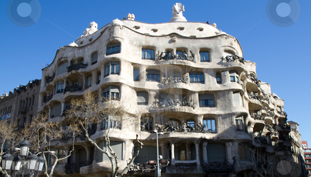 Casa Mila - La Pedrera stock photo, Modernisme style architecture, Casa Mila - La Pedrera built during the years 1906?1910, Barcelona, Spain by Juergen Schonnop