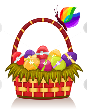 Easter basket with decorated eggs stock vector clipart, Celebrating Easter with decorated eggs and festive basket. Isolated over white background. Vector illustration saved as EPS AI8, all elements layered and grouped for easy editing. by Andreea Chiper