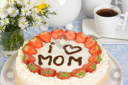 Mother's day cake stock photo, Mother's day cake with cream and strawberries by Anneke