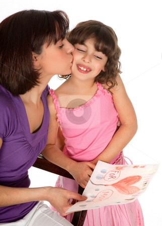 For mother's day stock photo, Little girl giving her mother a drawing for mother's day by Anneke