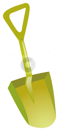 Shovel stock photo, Shovel on a white background, green plastic by Su Li