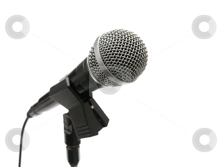 Microphone stock photo, Microphone on stand isolated on white background by P?