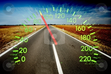 Speedometer stock photo, Speedometer over empty road landscape by P?