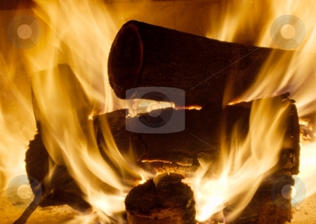 Fire stock photo, Burning logs in the fireplace by P?