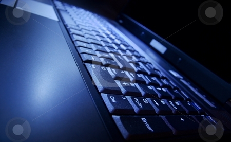 Laptop stock photo, Laptop in blue light by P?