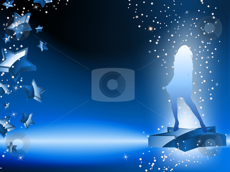 Girl Dancing on Star Blue Flyer stock vector clipart, Girl Dancing on Star Blue Flyer. Editable Vector Image by Augusto Cabral Graphiste Rennes