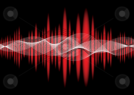 Music equaliser wave red stock vector clipart, Music inspired graphic equaliser background with wave effect by Michael Travers