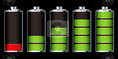 Battery charge section stock vector clipart, Battery charge showing stages of power running low and full by Michael Travers