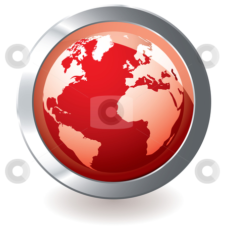 Red icon earth globe stock vector clipart, Red earth globe with metal silver bevel and shadow by Michael Travers