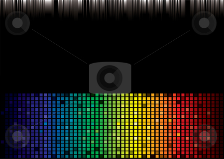 Rainbow spectrum background stock vector clipart, Brightly coloured abstract rainbow background with square pattern by Michael Travers