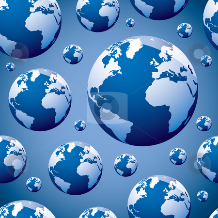 World globe seamless stock vector clipart, Abstract seamless world wallpaper background pattern in blue by Michael Travers
