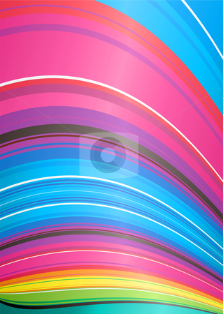 Abstract rainbow ridge stock vector clipart, Brightly colored rainbow background with stripes and wave effect by Michael Travers