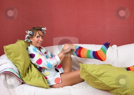 funny socks. Pulling on my funny socks