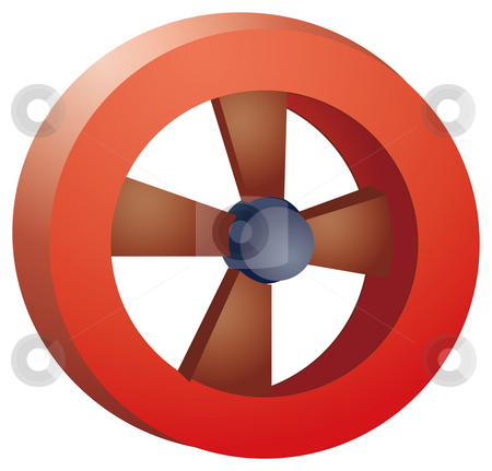 Wood wheel stock photo, Red wood wheel isolate in a white background by Su Li