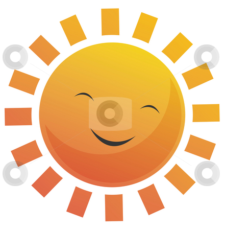 Cartoon Sun Face stock photo, Cartoon illustration of a sun with a smile face. by Su Li