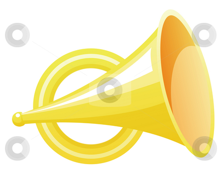 Trumpet stock photo, Yellow trumpet isolate in a white background by Su Li