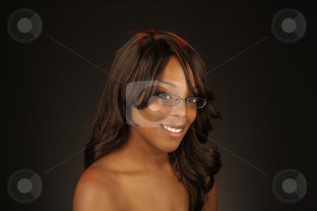 Beautiful BlackWoman, Headshot (21) stock photo, An extraordinarily beautiful young black woman. by Carl Stewart