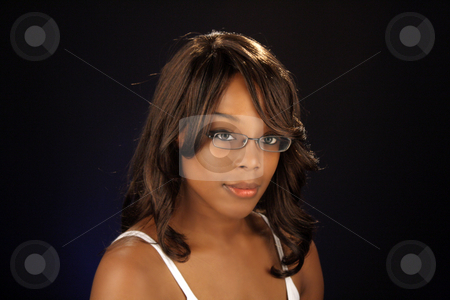 Beautiful BlackWoman, Headshot (5) stock photo, An extraordinarily beautiful young black woman. by Carl Stewart
