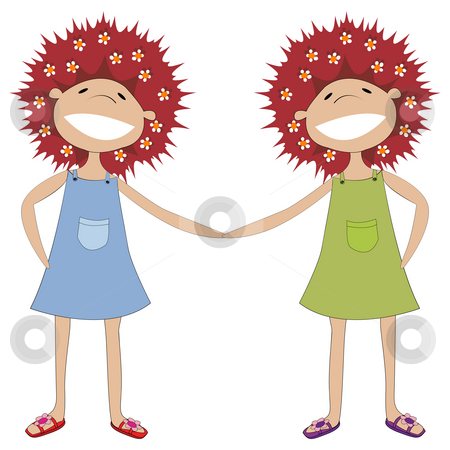 Sisters holding hands stock photo, Illustration of twin sisters holding hands by Richard Laschon