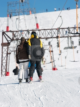 Ski stock photo, Skiers on a ski lift by P?