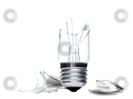 Broken lightbulb stock photo, Broken lightbulb with fragments isolated on white by P?