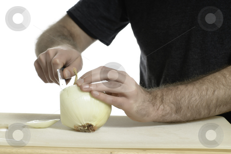Cutting Onion stock photo, An onion and a knife shot on a cutting board with a pure white background by Richard Nelson