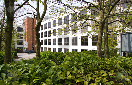 Green office stock photo, Modern office block surrounded by leaves and trees by Paul Phillips