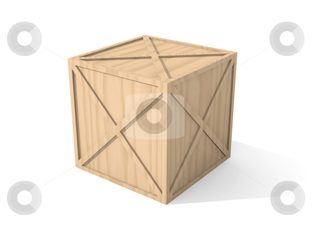 Wooden Box stock photo, 3D Illustration. by Michael Osterrieder
