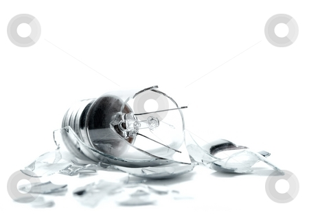 Broken stock photo, Broken lightbulb on white background by P?
