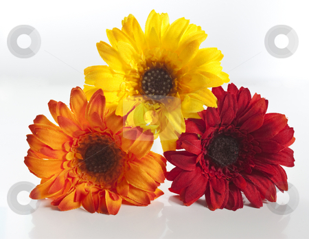 Artificial flowers stacked up stock photo, Red, orange, yellow artificial flowers stacked up by Stephen Clarke