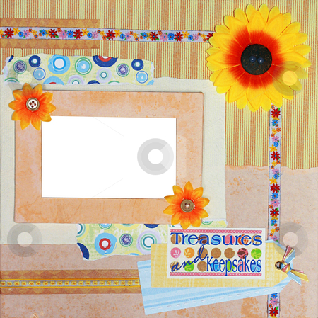 Scrapbook photo frame stock photo, A hand crafted colorful scrapbook photo frame by Rey Gabudao