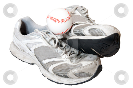 Old Shoes and Baseball stock photo, Old shoes and baseball isolated on white background with clipping path. by Danny Hooks