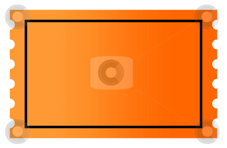 Blank orange ticket stock photo, Blank orange gradient ticket with copy space, isolated on white background. by Martin Crowdy