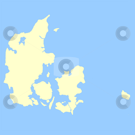 Denmark map stock photo, Map of Denmark isolated on a blue background. by Martin Crowdy