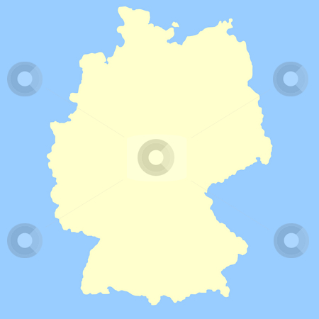 Germany map stock photo, Map of Germany isolated on a blue background. by Martin Crowdy